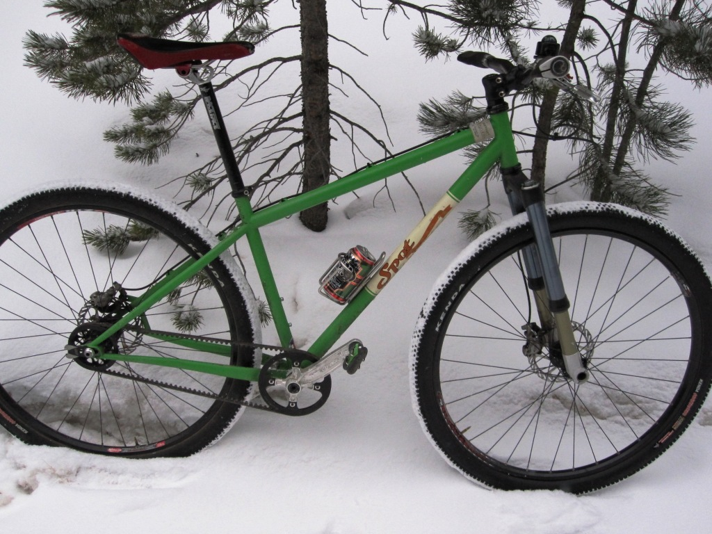 green carbon drive bike in snow