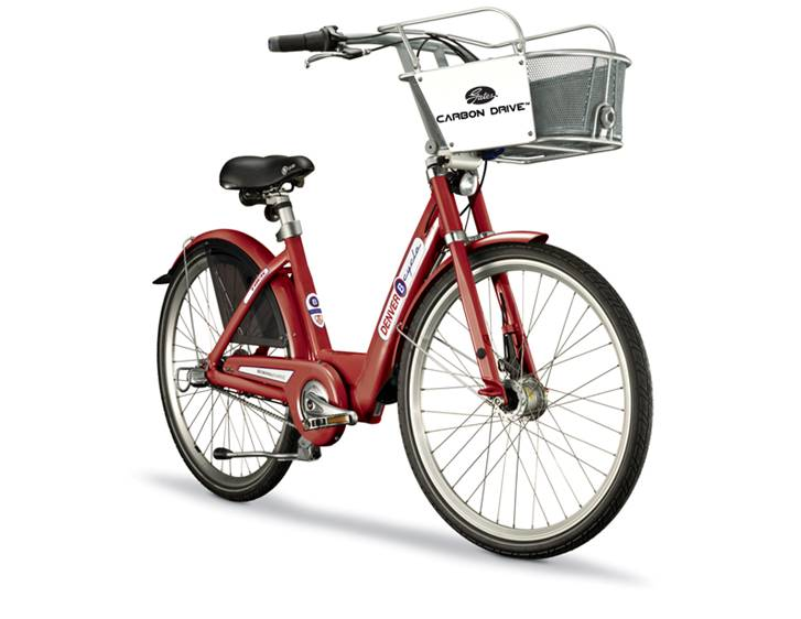 red bicycle with gates carbon drive system