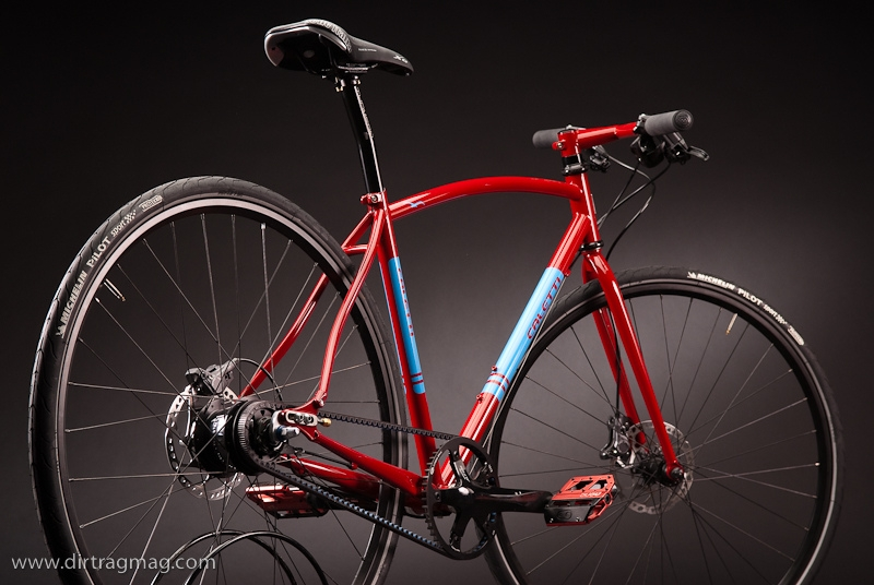 The Caletti red ripper with a Gates Carbon Drive system at the North American Handmade Bike Show.