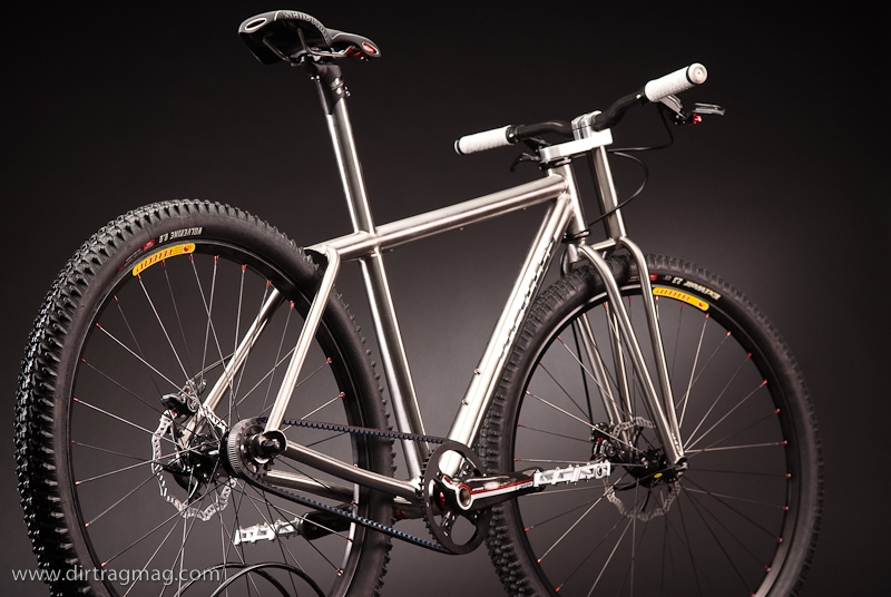 The ti 69er design by Ti Cycles with a Gates Carbon Drive at the North American Handmade Bike Show.