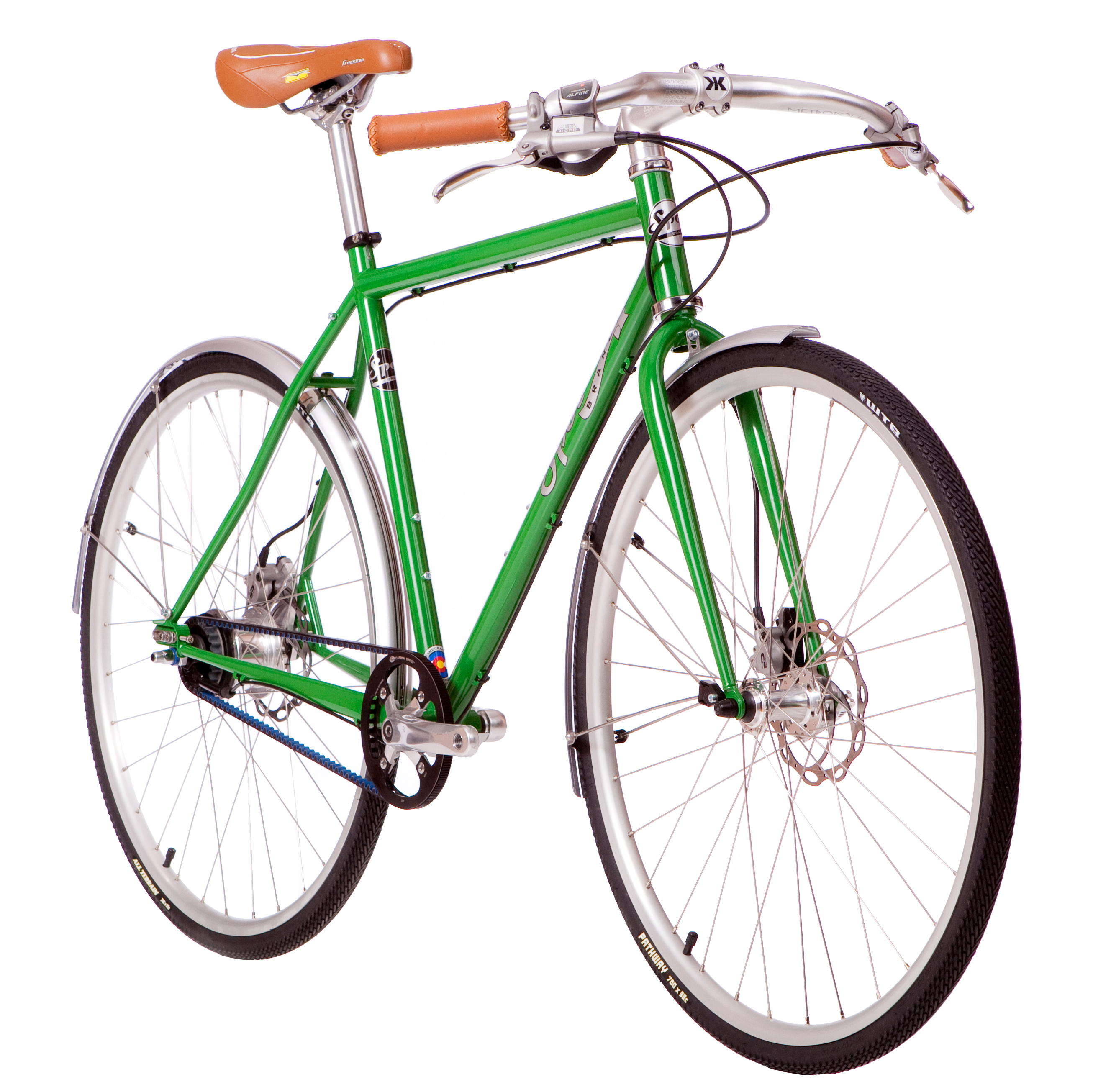 The Spot Brand 8-speed Sprawl commuter bike is outfitted with Gates Carbon Drive technology.