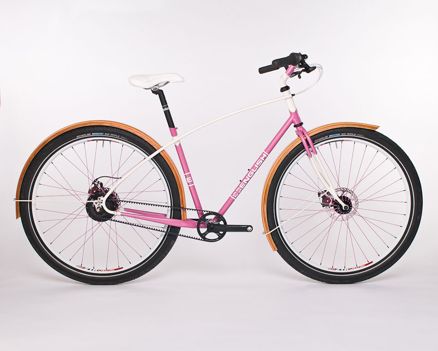 A pink Gates custom belt-drive cruiser designed at English Cycles.