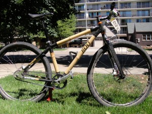 Brad Cole's Boo singlespeed 29er bicycle made of bamboo and outfitted with Gates Carbon Drive.