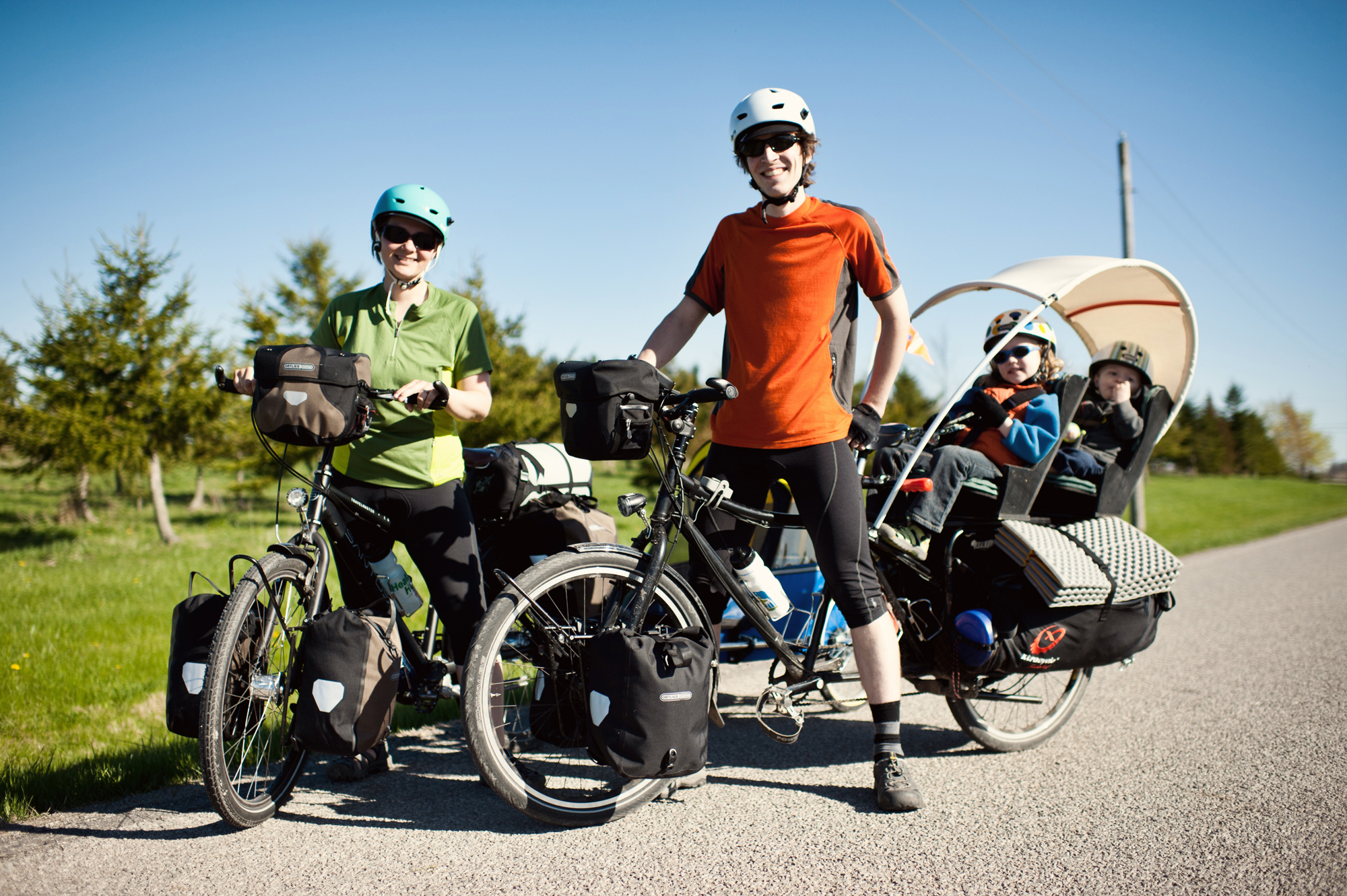 The Pedal Powered Family explores North America by bicycle, one being a Gates Carbon Drive equipped Santos.