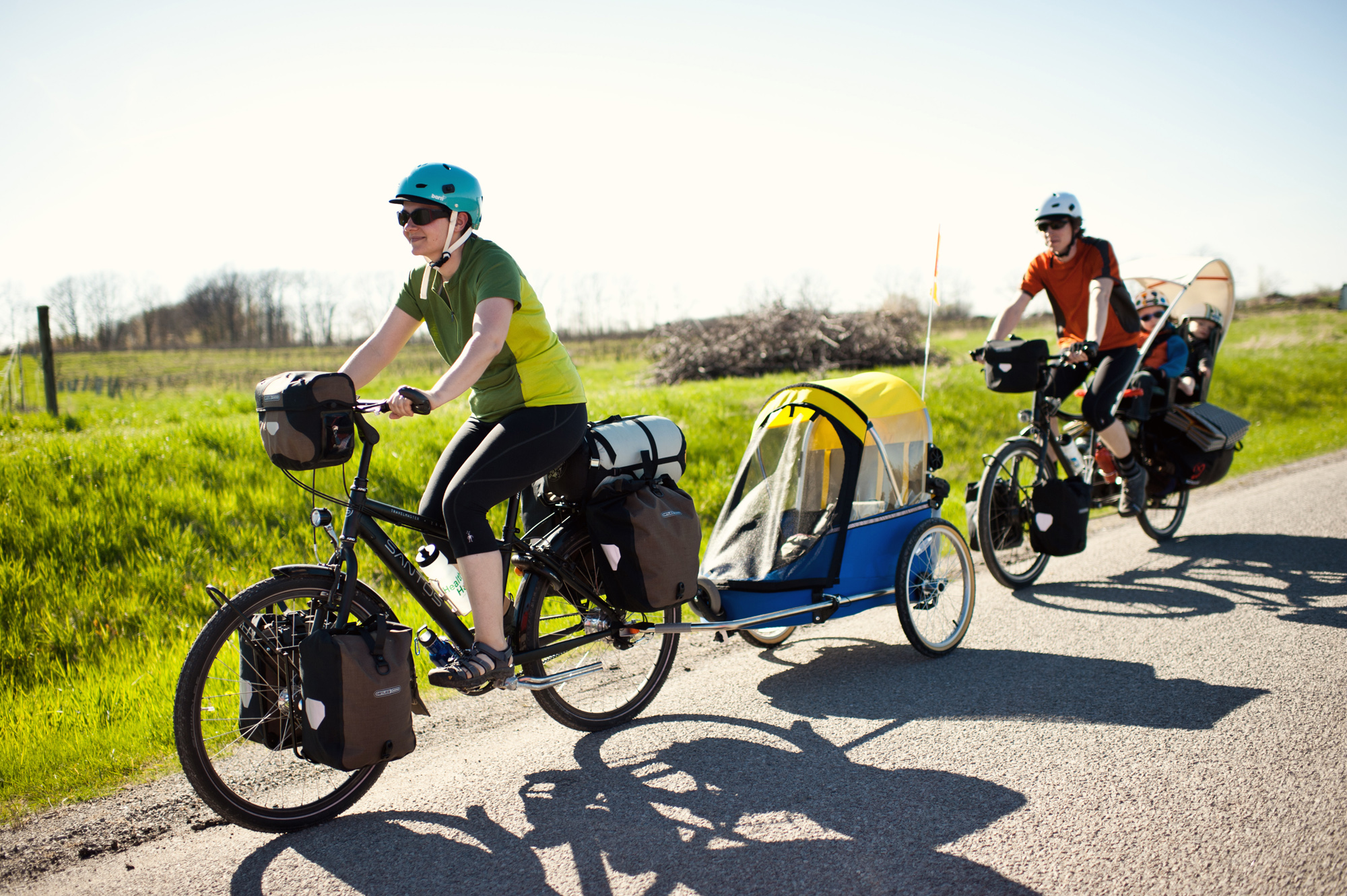 Riding a Gates Carbon belt drive outfitted Santos bike, Heidi leads her Pedal Powered Family across North America.