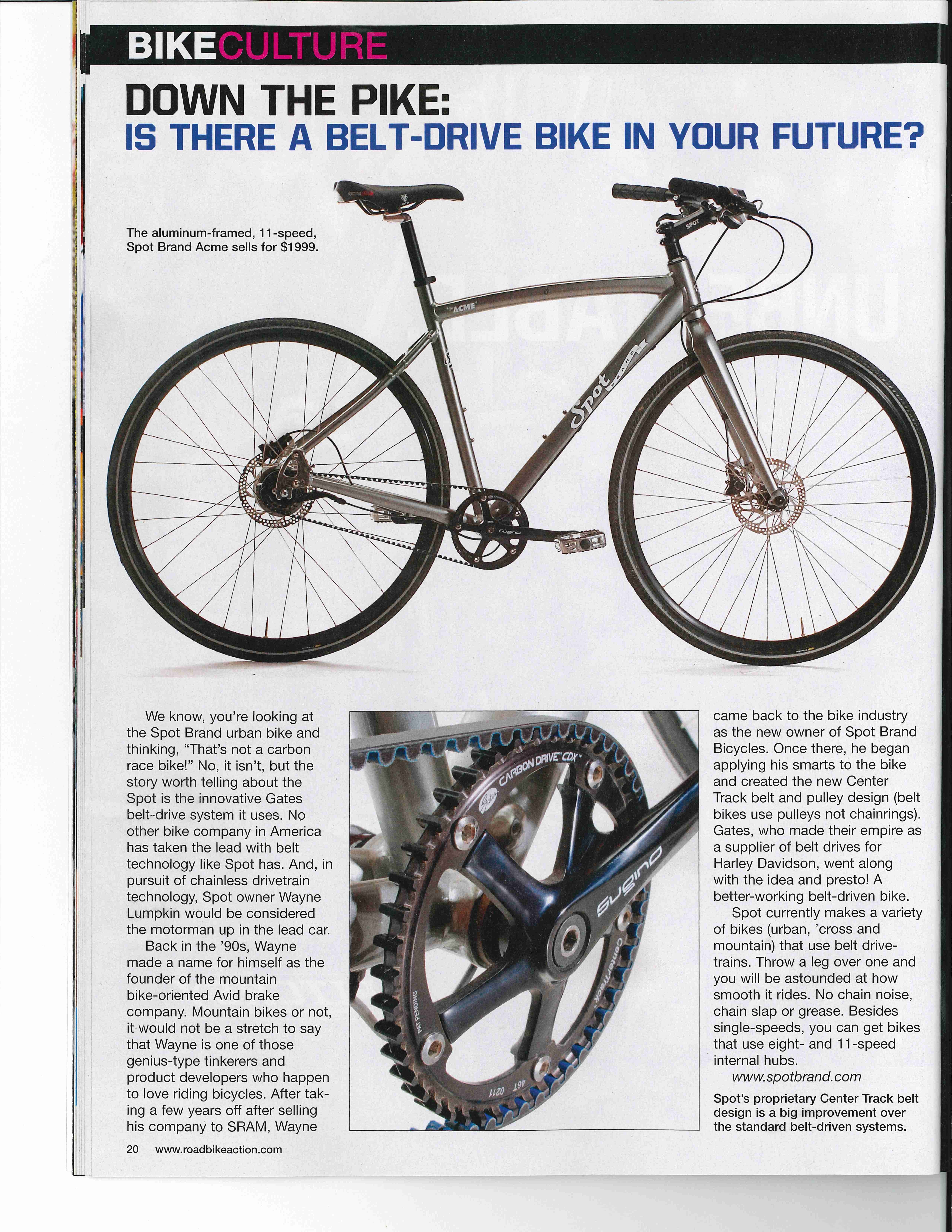 Road Bike Action Magazine features the Gates Carbon Drive outfitted Spot Brand commuter bike in their August issue.