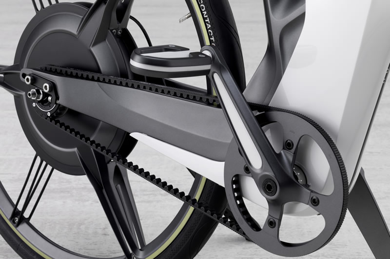 The Gates drive train integrated with the rear wheel drive BionX on the electric Smart e-bike.