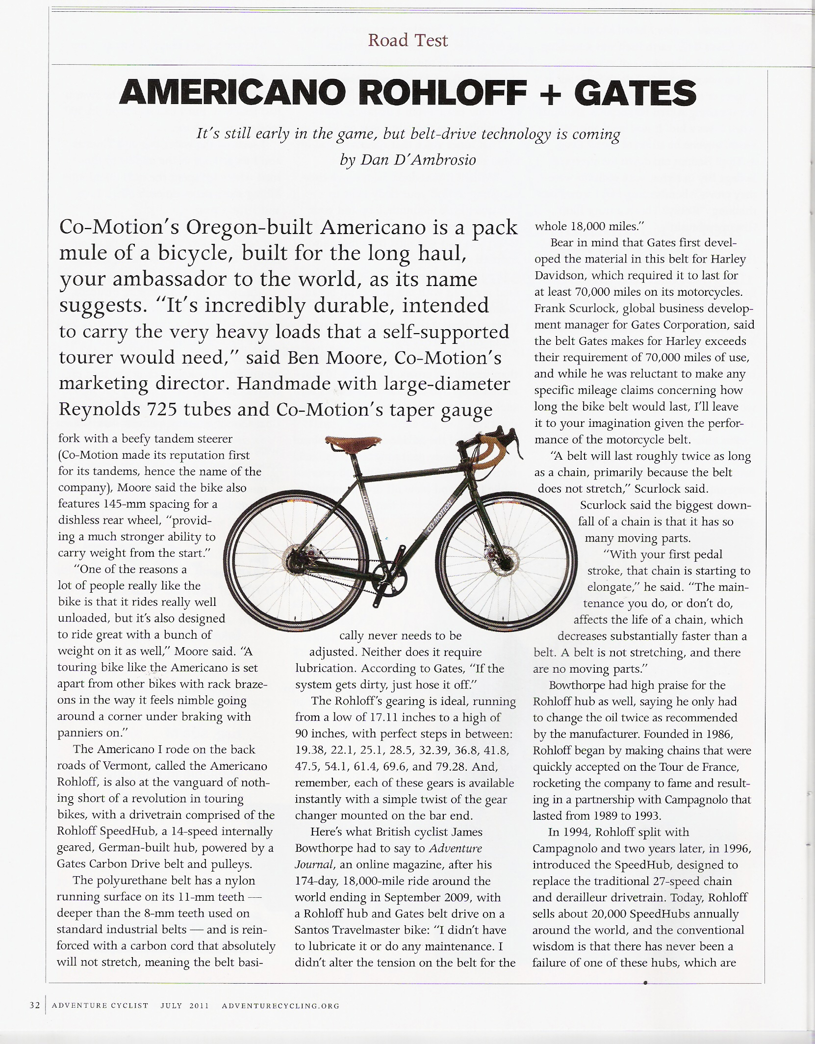 The Co-Motion Americano Rohloff bike with Gates Carbon Drive in Adventure Cyclist Magazine.