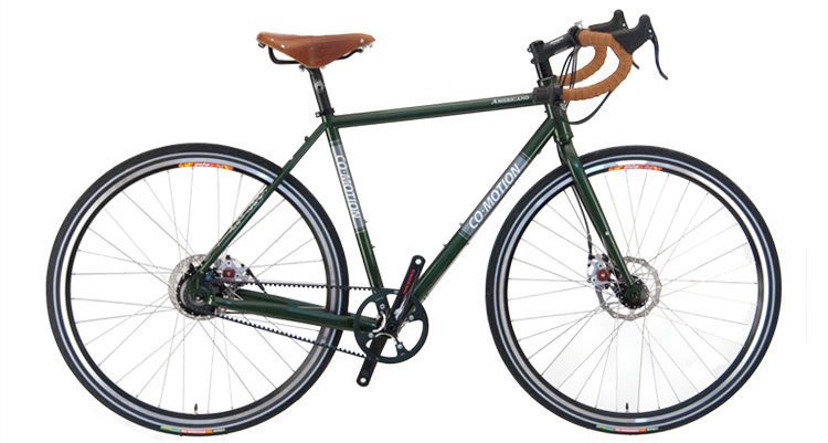A favorite among long-haul riders, the Co-Motion Americano Rohloff is outfitted with Gates Carbon Drive.