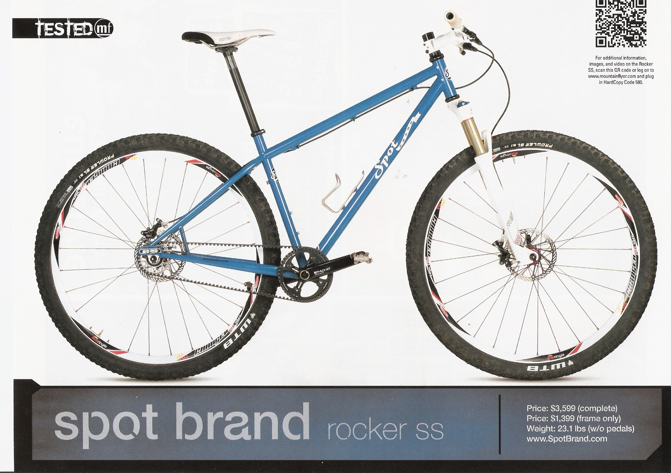 Mountain Flyer Magazine gives high marks to the Spot Brand Rocker SS singlespeed bike featuring Gates CenterTrack drive.