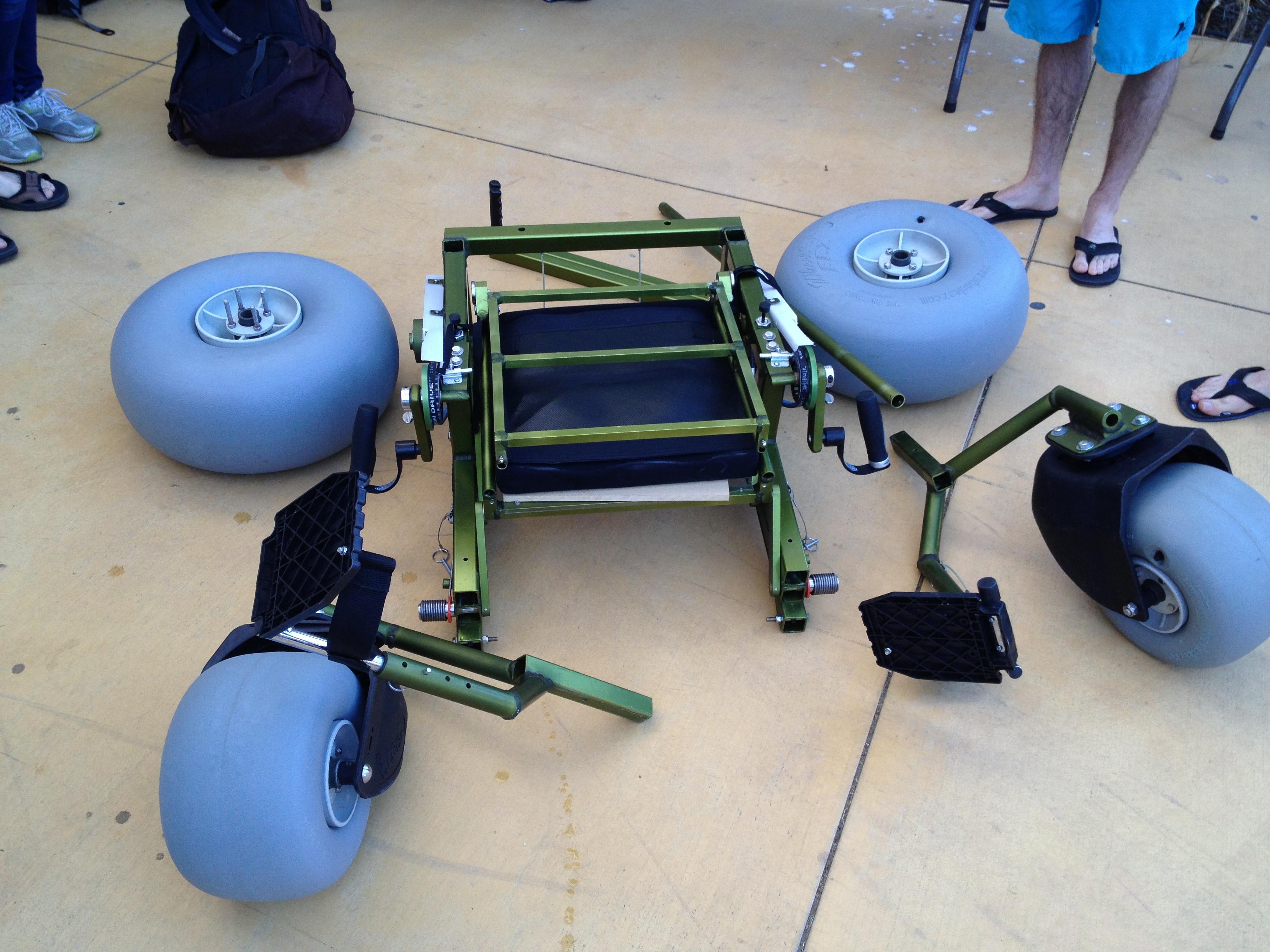 Beach wheelchair disassembled