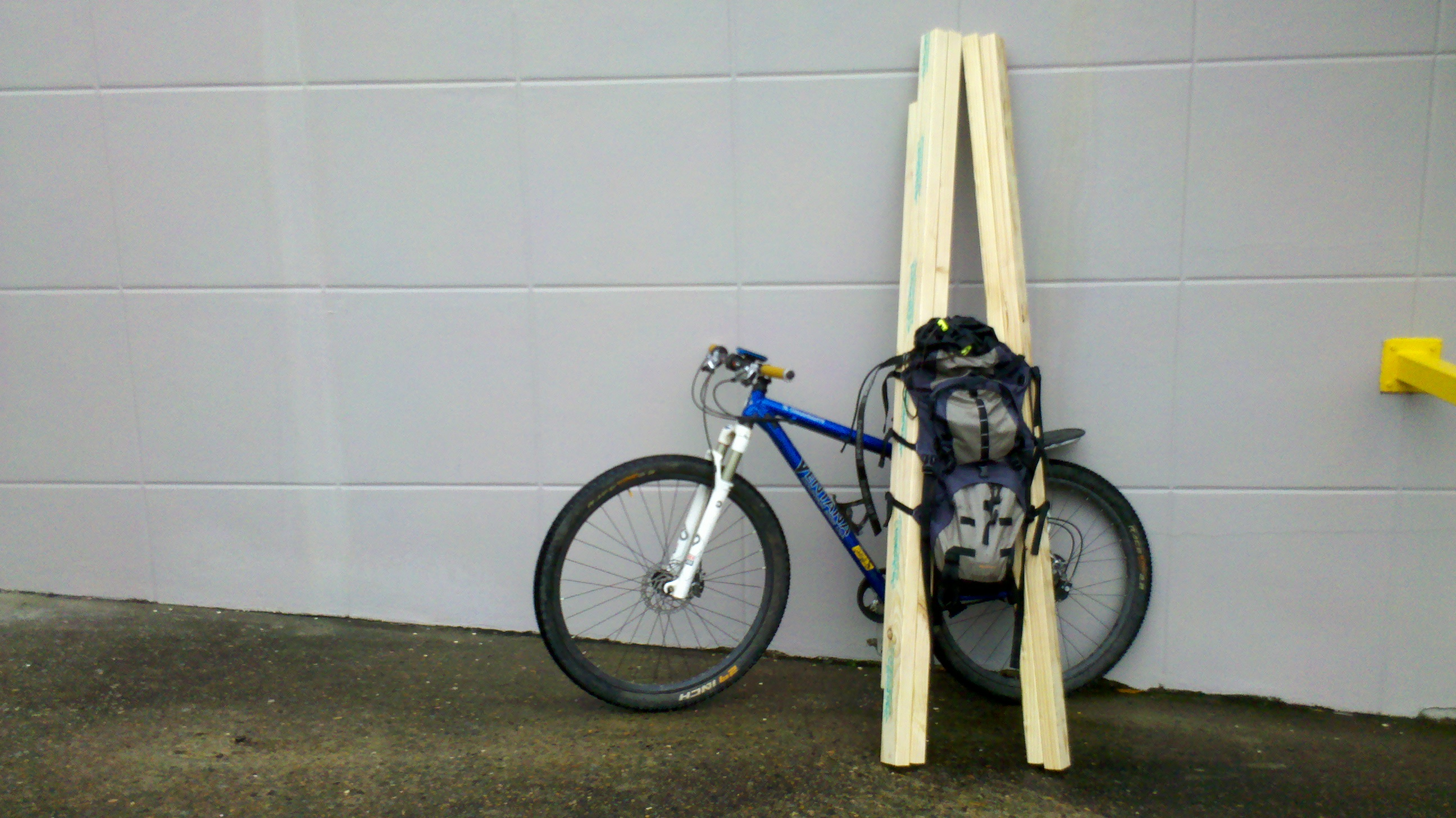 Ollie bike loaded with lumber