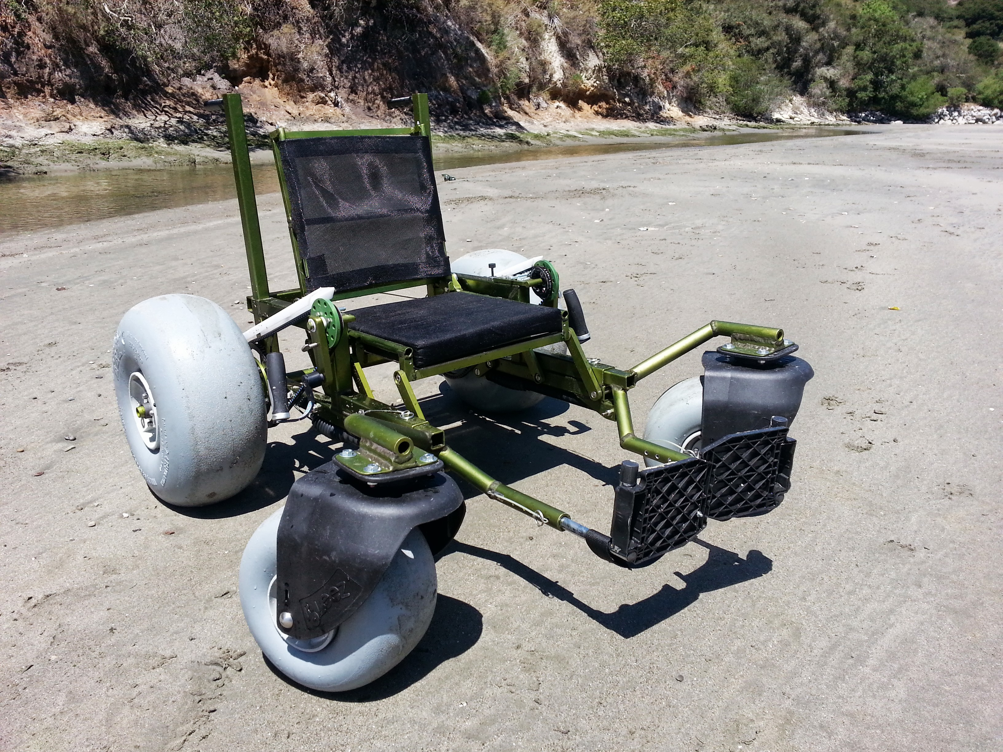 beach wheelchair on sand