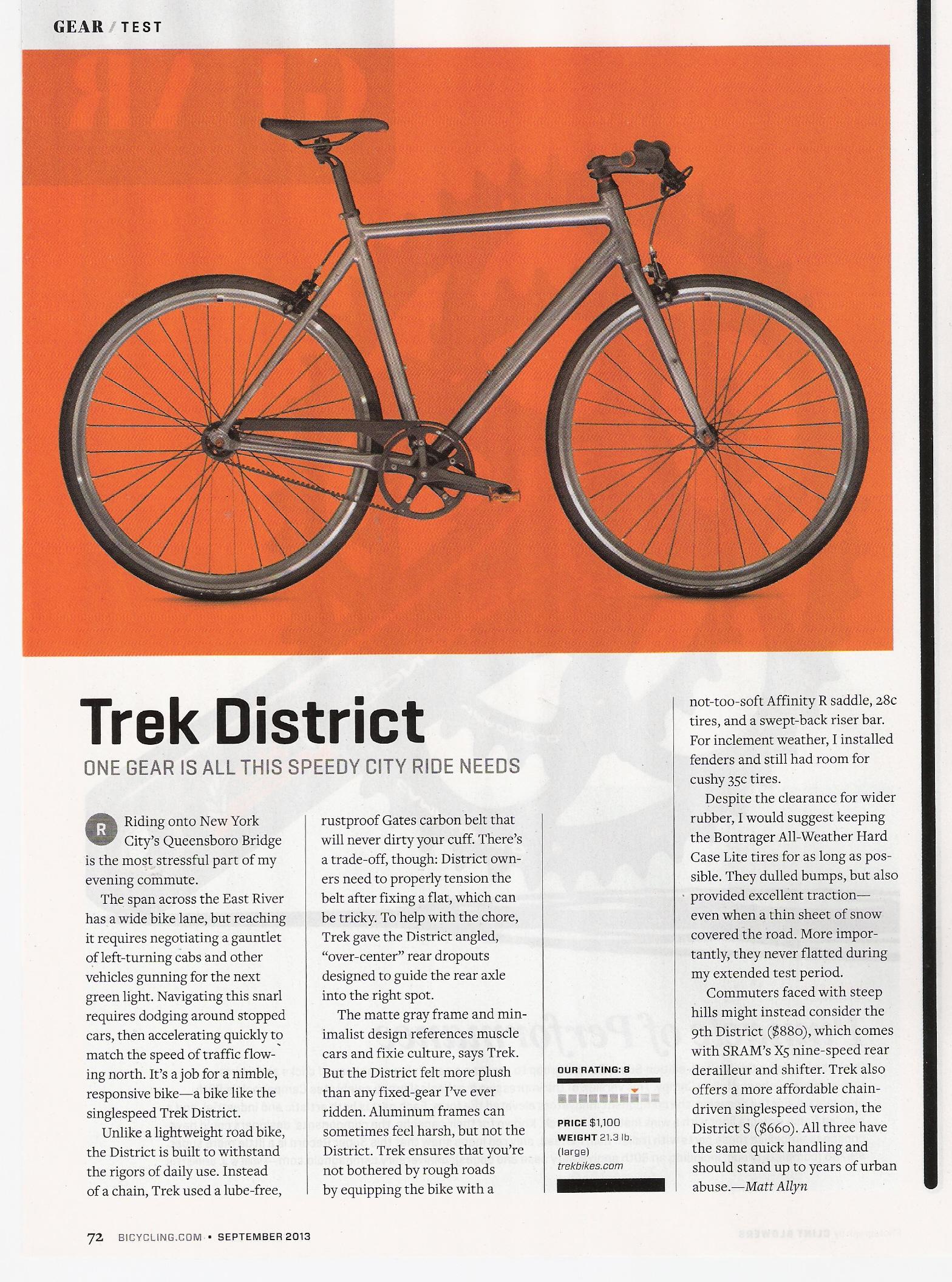 Bicycling Sept 2013 Trek District