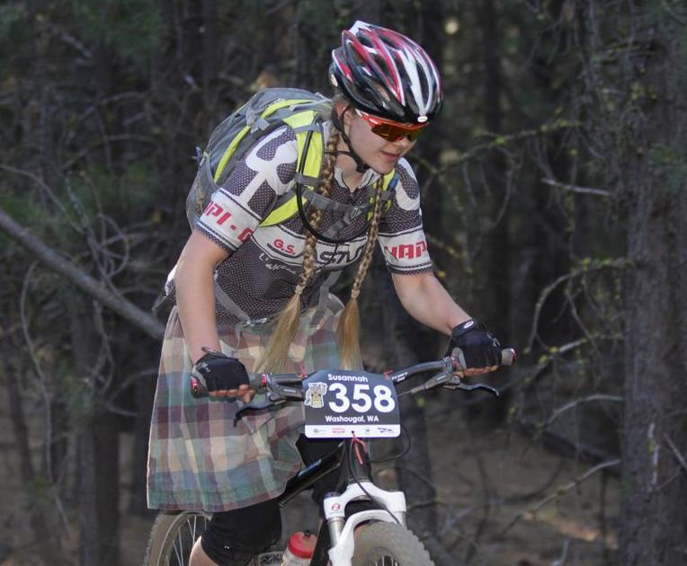 Susannah Hart in kilt racing