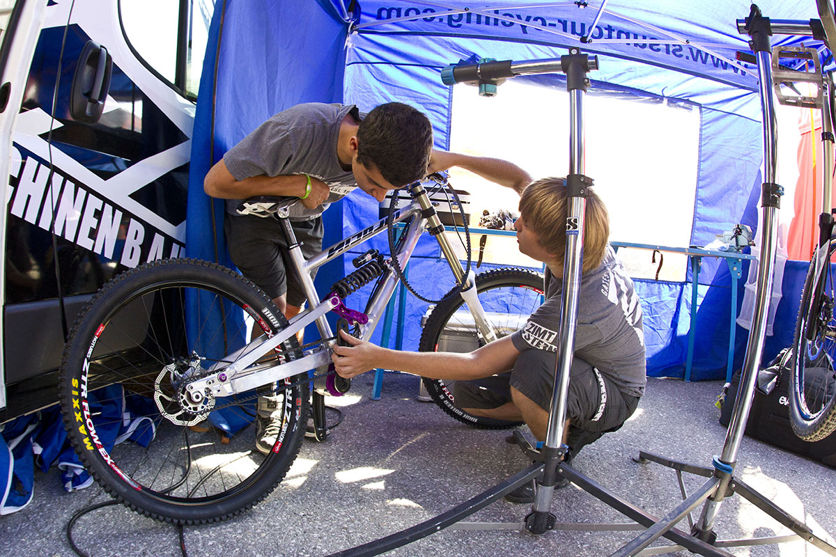 Nicolai DH bike in booth