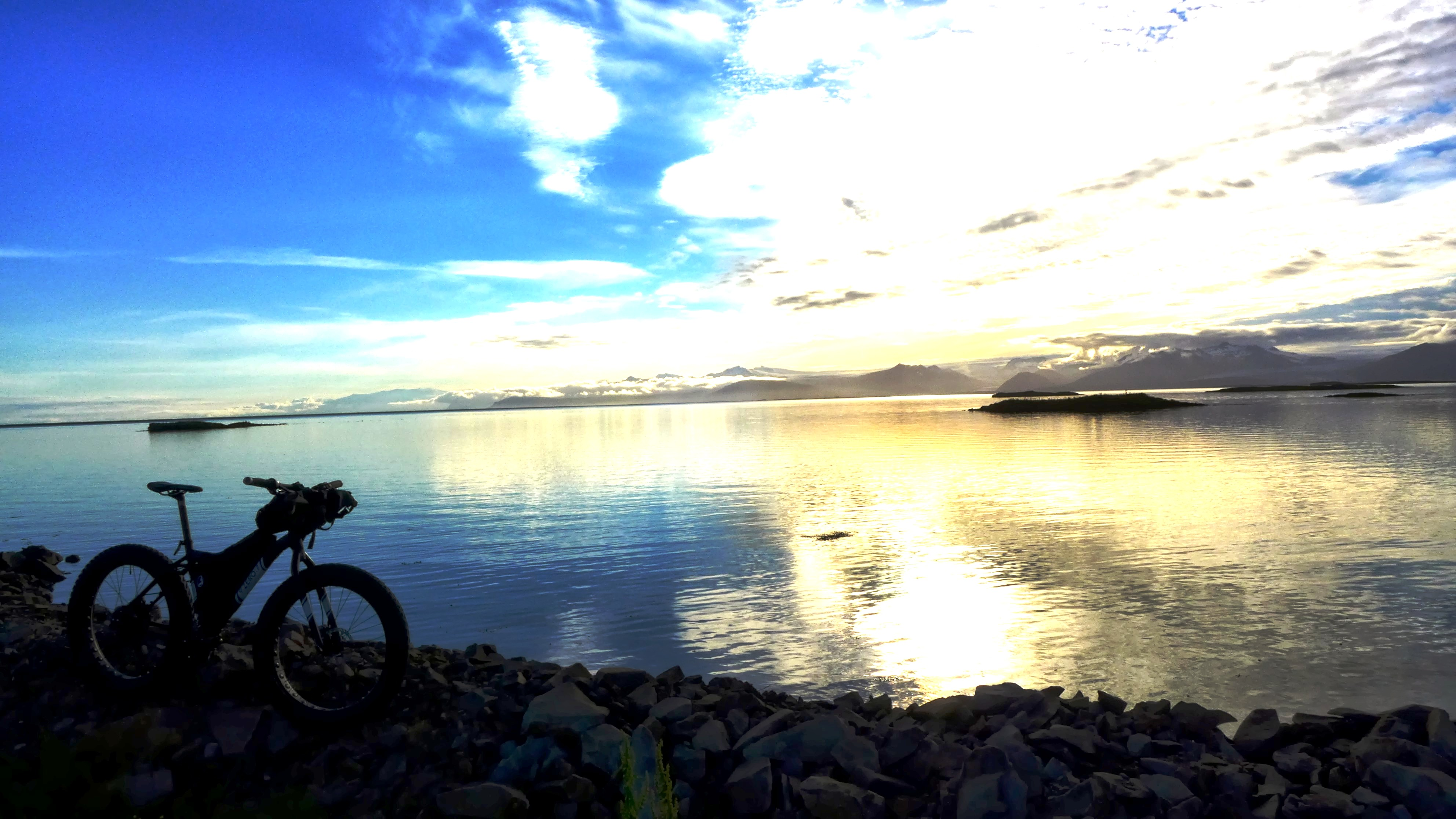 Unchained Iceland_bike against big blue sky