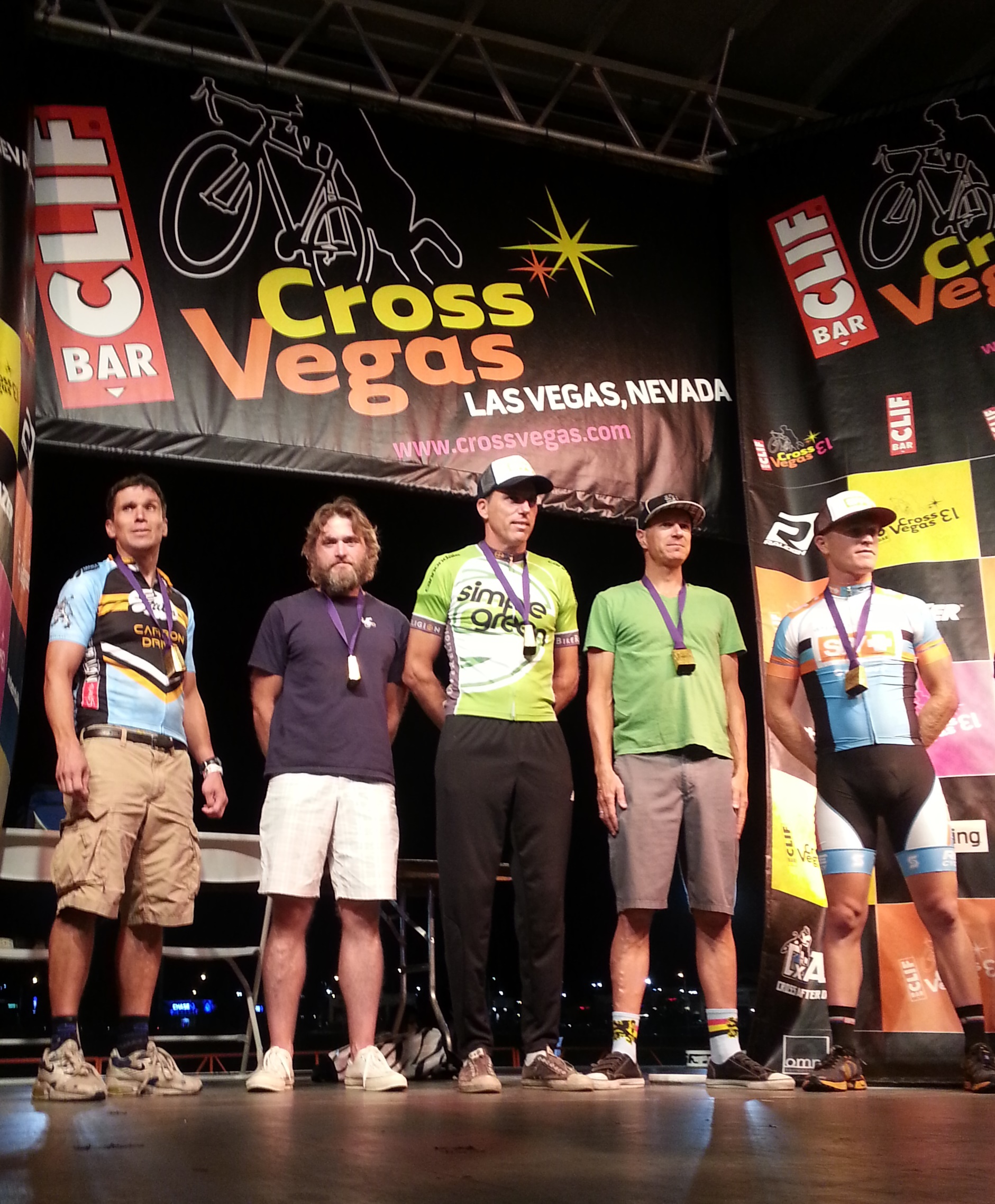 Mitch Westall and other class-winners on the CrossVegas podium.