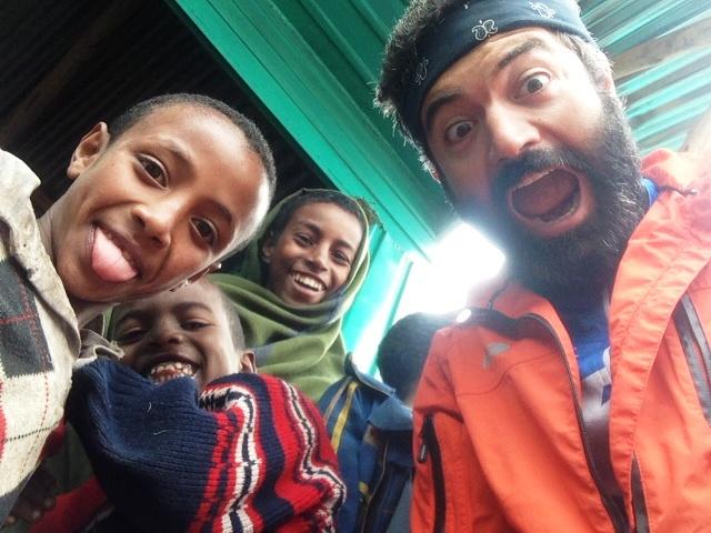 Reza entertaining some kids in Ethiopia.