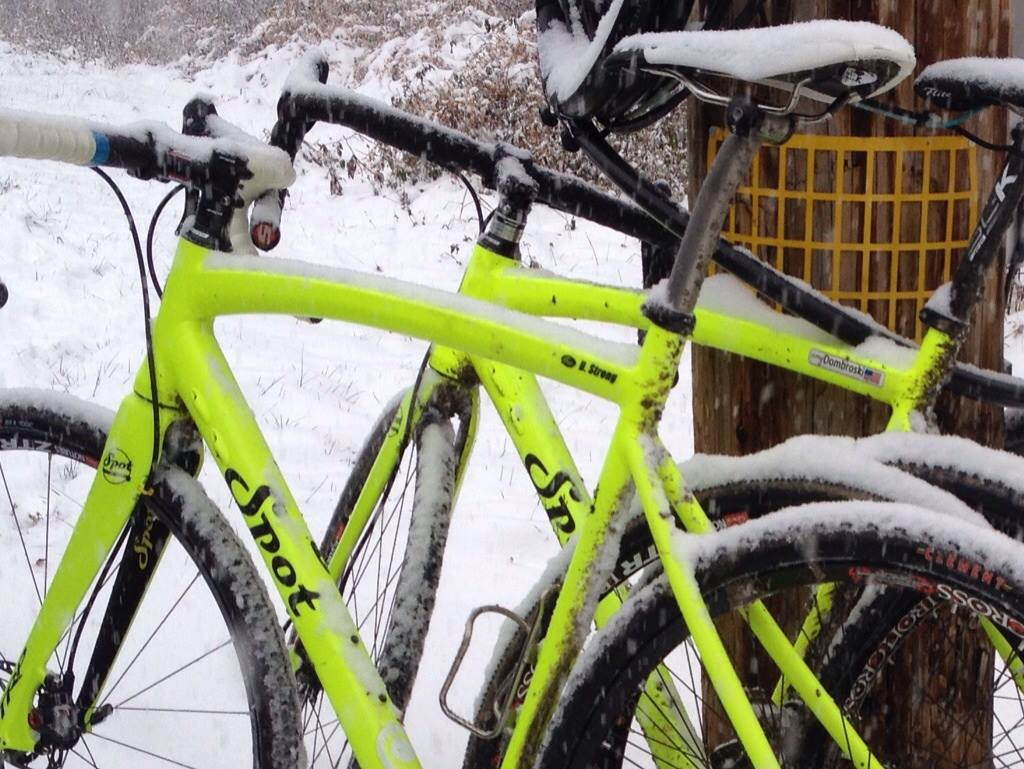The team's distinctive Spot Ralleye bikes making a snow-covered appearance in Philadelphia