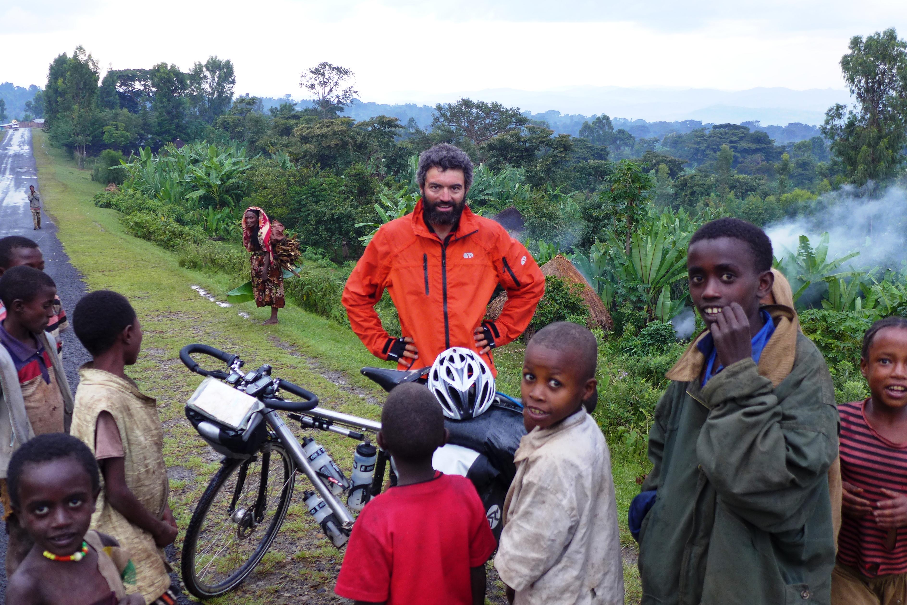 Reza with African children