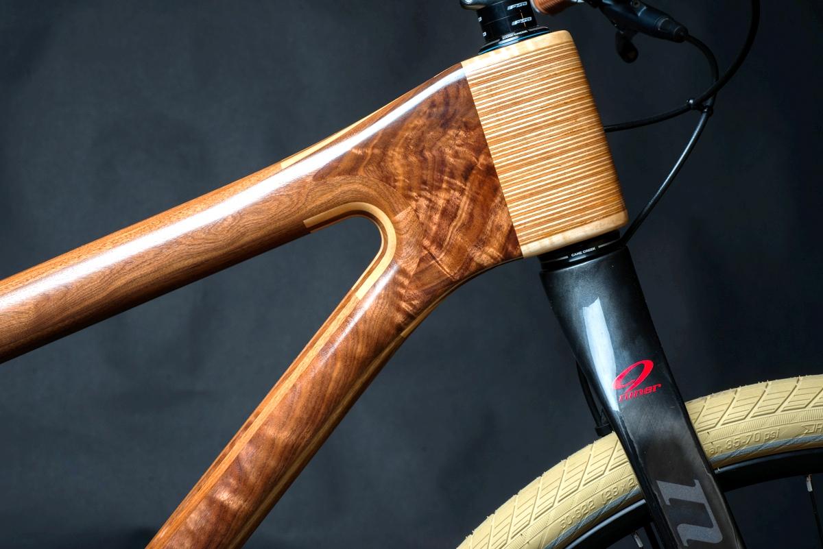 Pescok Wood bike headtube closeup