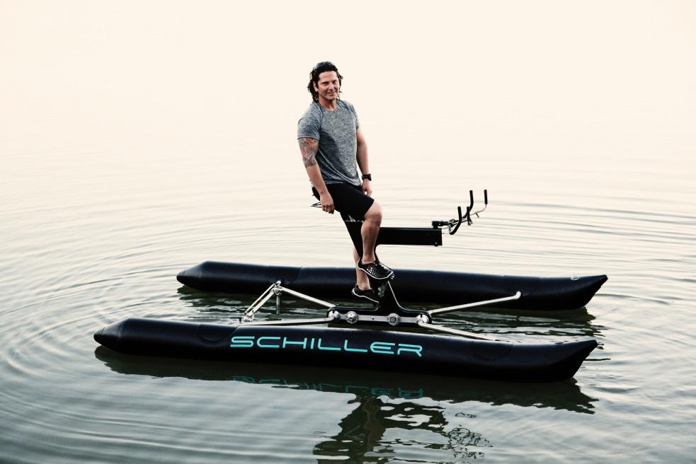 Schiller on water bike