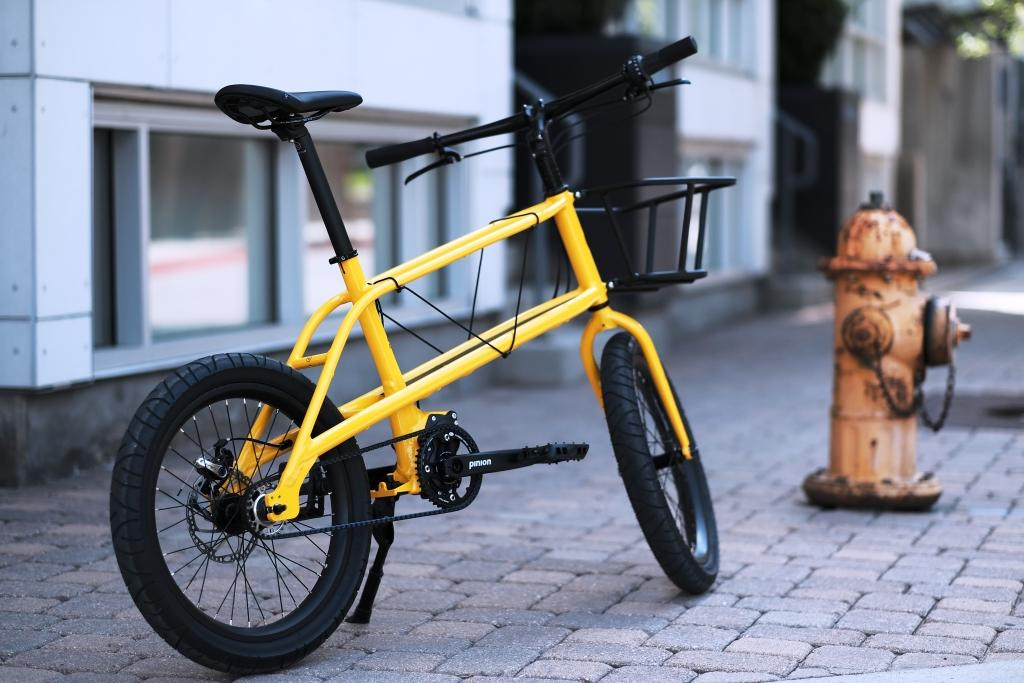 yellow coast quinn pinion belt drive bike