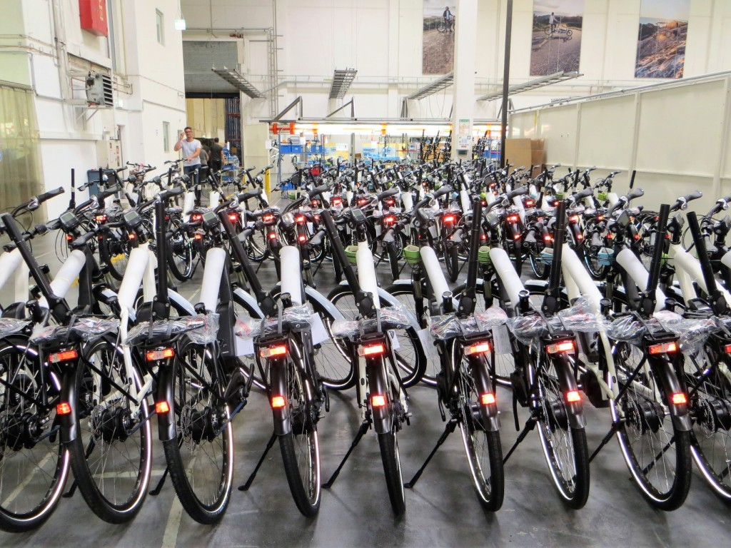 Row of Gates belt drive equipped eBikes with Bosch motors awaiting shipments