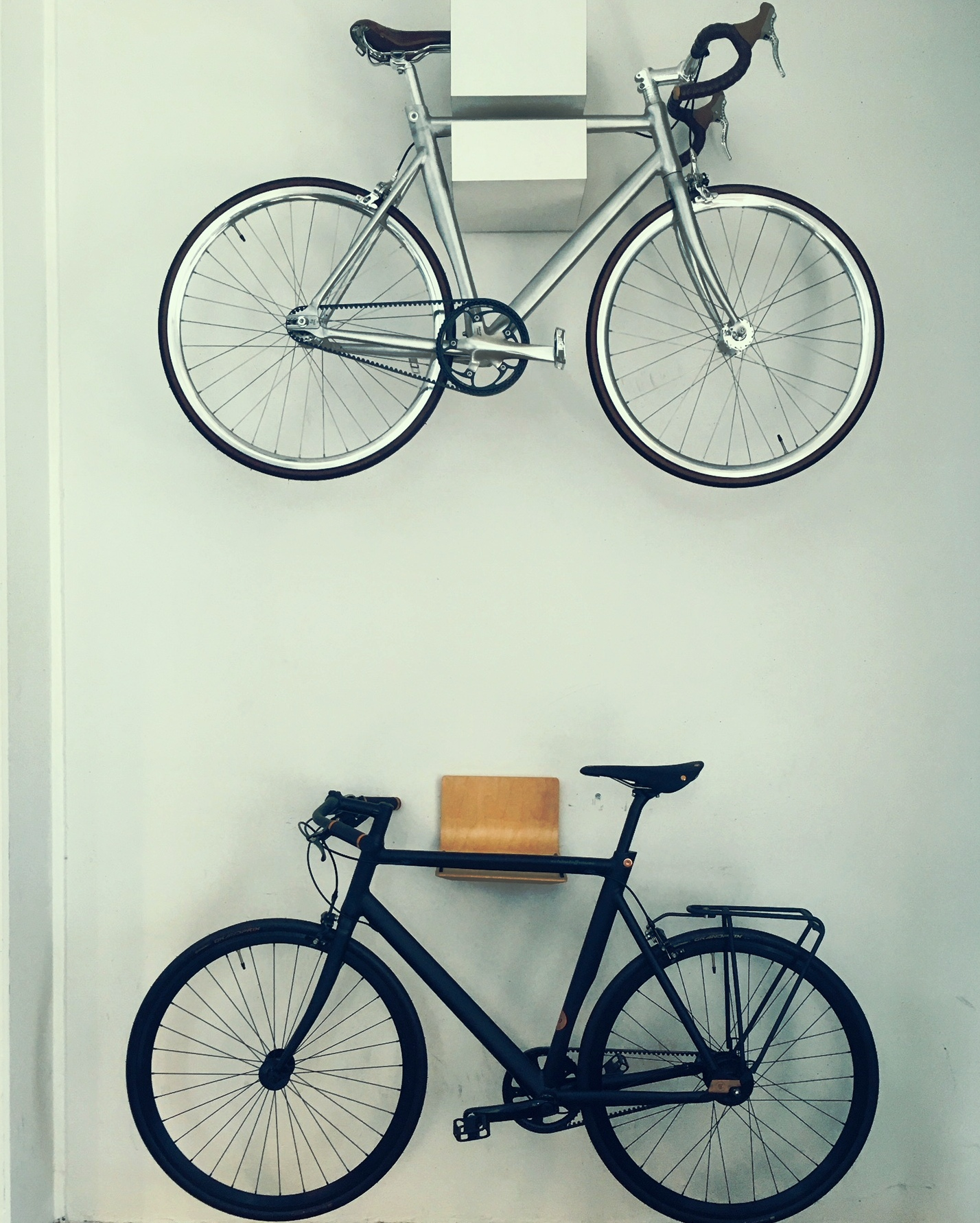 two bikes on wall