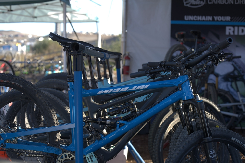 Demo bikes lined up at Sea Otter 2021